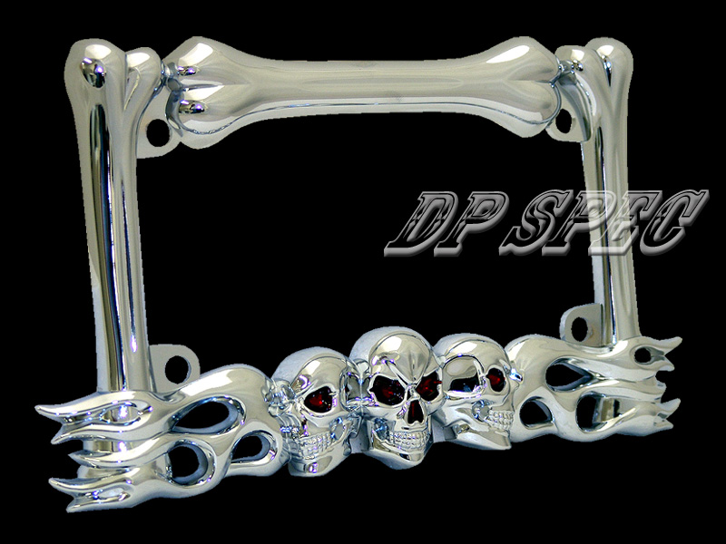 3d skull flame bones chrome motorcycle license plate frame for harley davidson