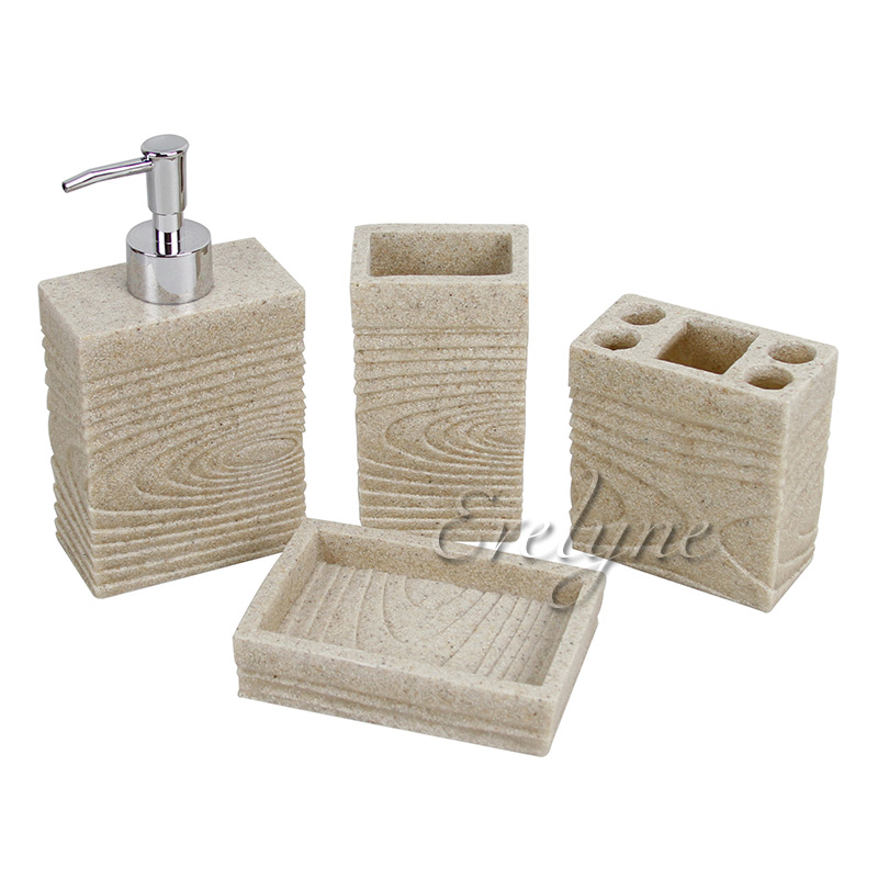 Bathroom Set With Tray : Resin sandstone bathroom accessory set dispenser soap tray