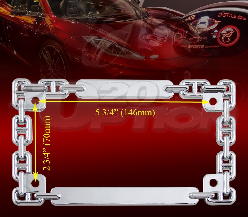 3d Chain Chrome Metal Motorcycle License Plate Frame For