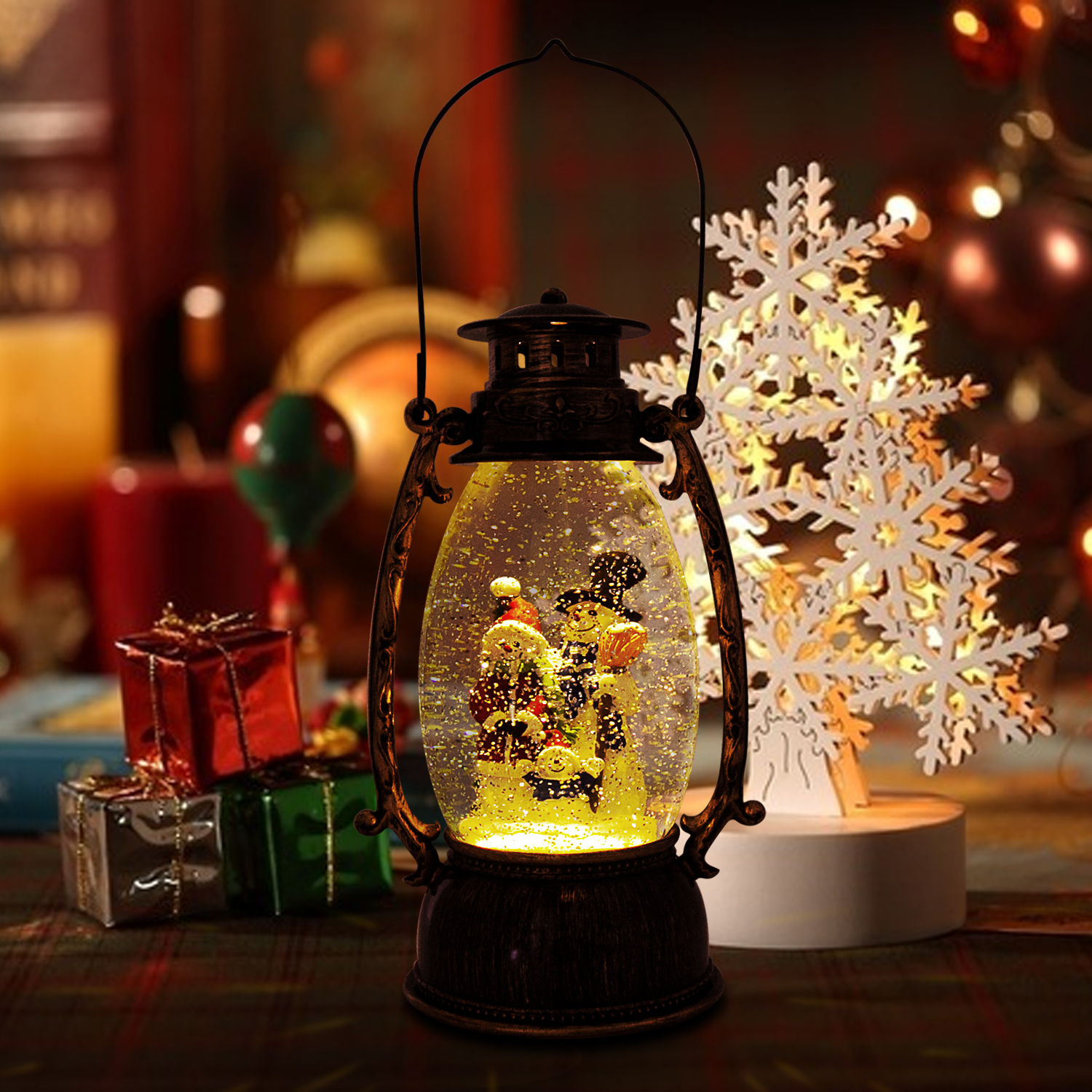 Christmas-Snow-Globe-LED-Lighted-Lantern-Battery-Operated-Swirling-Glitter-Water thumbnail 19