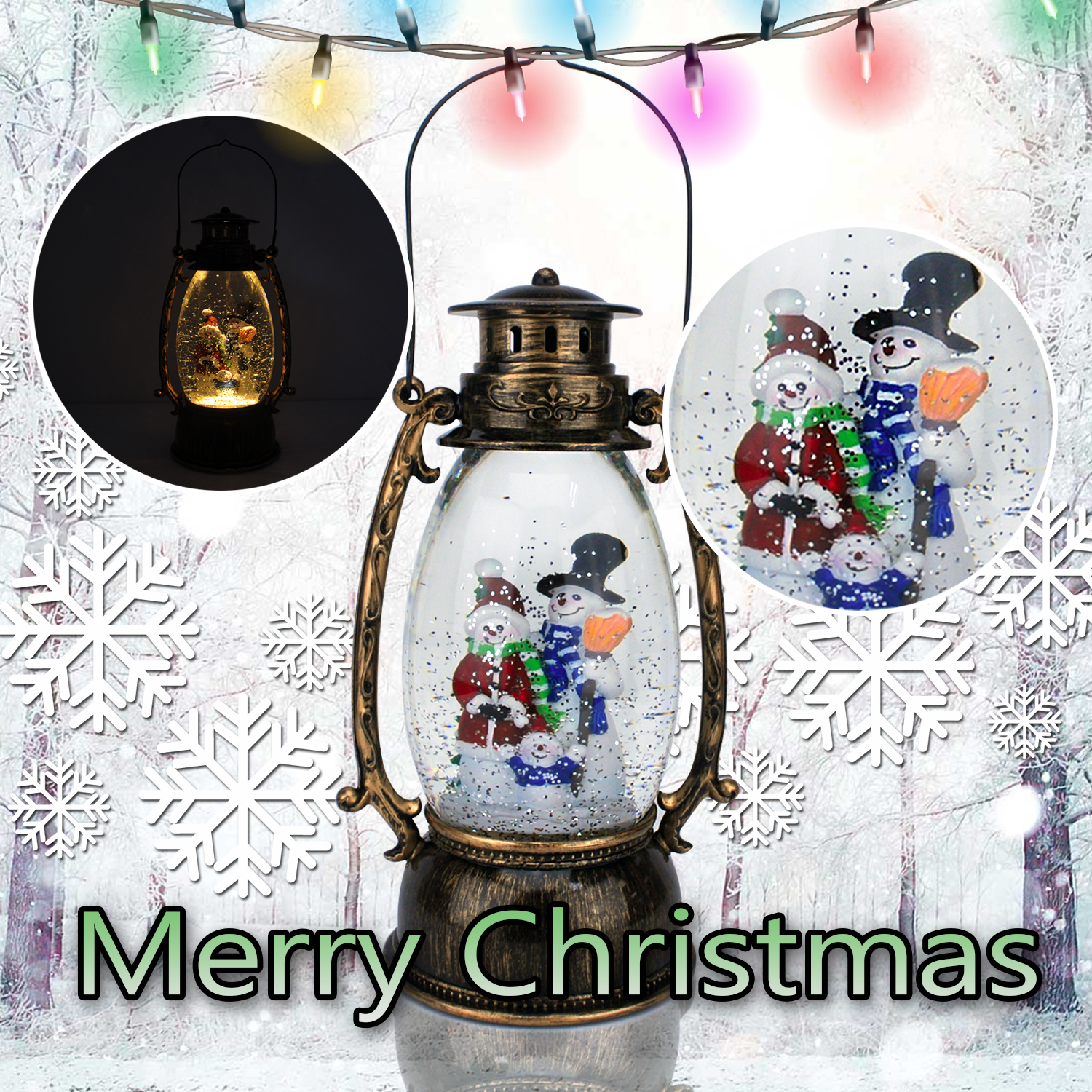 Christmas-Snow-Globe-LED-Lighted-Lantern-Battery-Operated-Swirling-Glitter-Water thumbnail 25