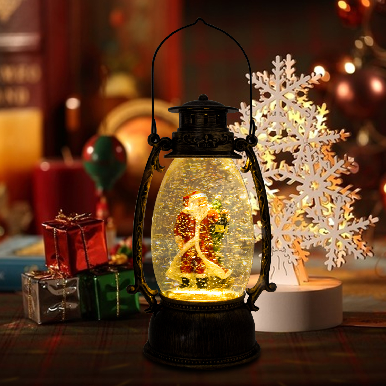 Christmas-Snow-Globe-LED-Lighted-Lantern-Battery-Operated-Swirling-Glitter-Water thumbnail 11