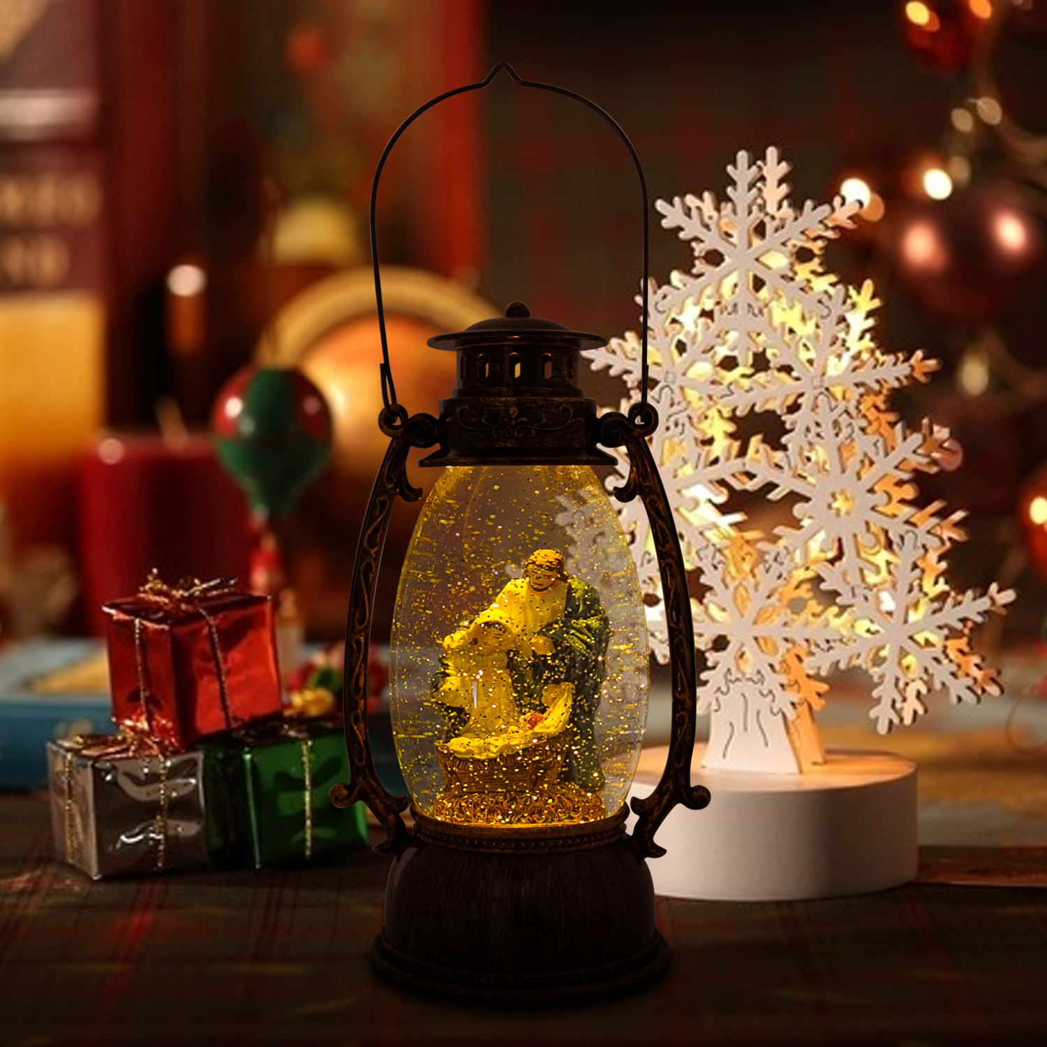 Christmas-Snow-Globe-LED-Lighted-Lantern-Battery-Operated-Swirling-Glitter-Water thumbnail 3