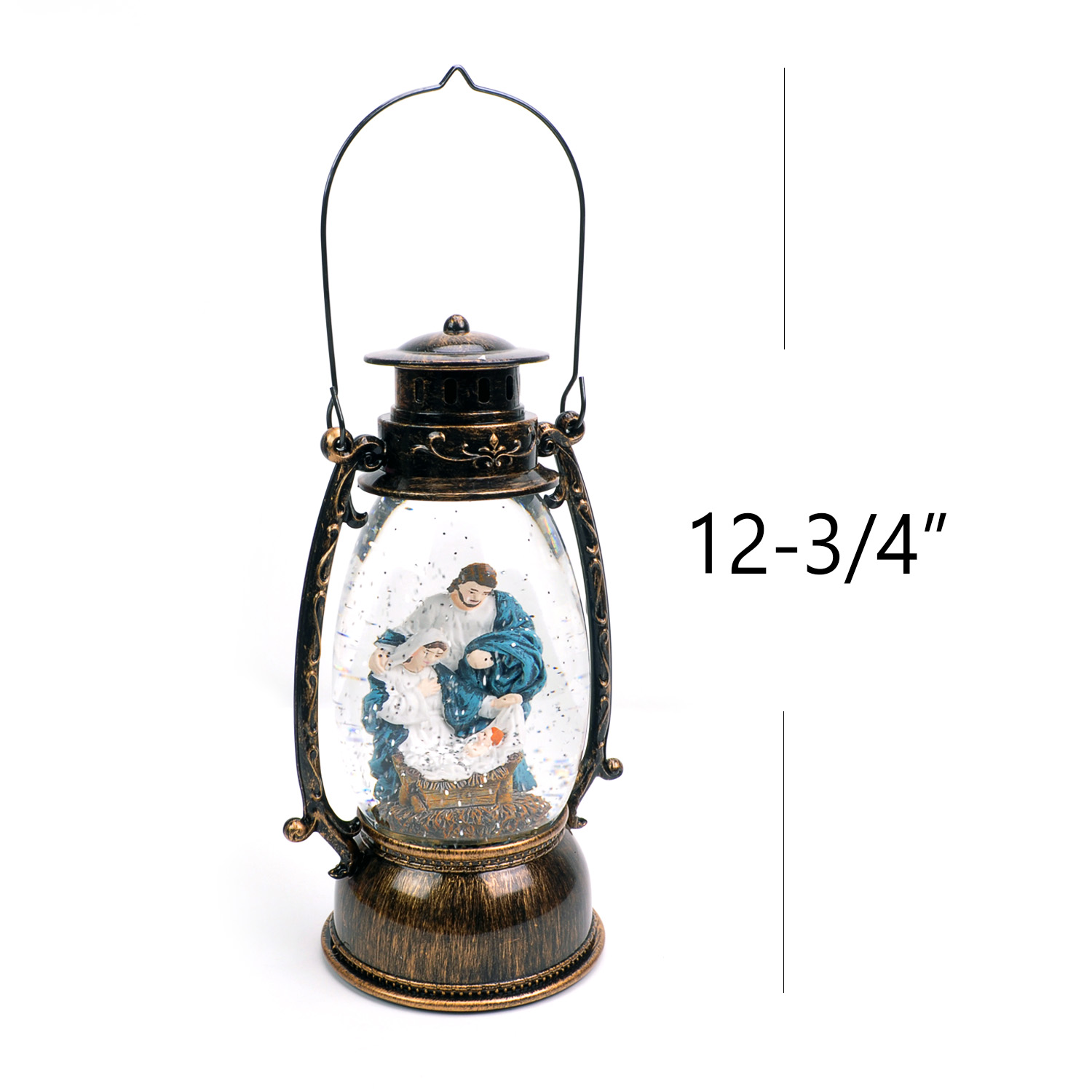 Christmas-Snow-Globe-LED-Lighted-Lantern-Battery-Operated-Swirling-Glitter-Water thumbnail 4