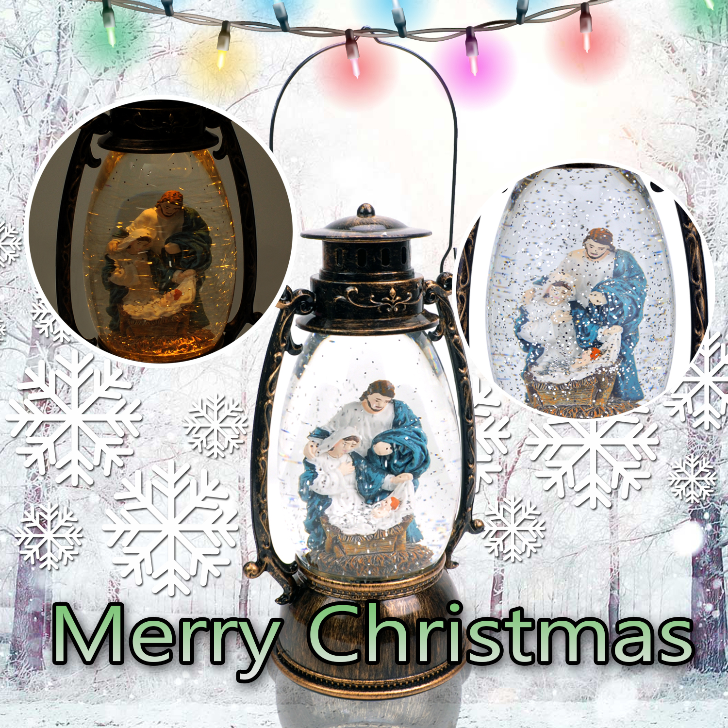 Christmas-Snow-Globe-LED-Lighted-Lantern-Battery-Operated-Swirling-Glitter-Water thumbnail 9